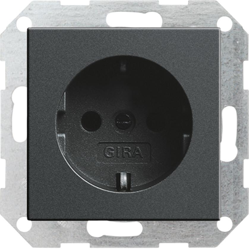 gira system 55 steckdose anthrazit 018828 easyelektro. Black Bedroom Furniture Sets. Home Design Ideas